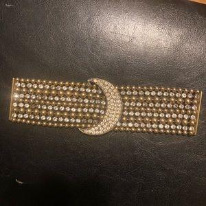 Vintage Metal Balls Crystal Crescent Bracelet